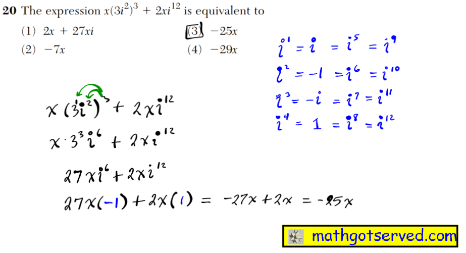 NYS Regents 2016 January algebra 2 Solutions The expression x(3i2)3   2xi12 is equivalent to (1) 2x   27xi (3) 25x (2) 7x (4) 29x