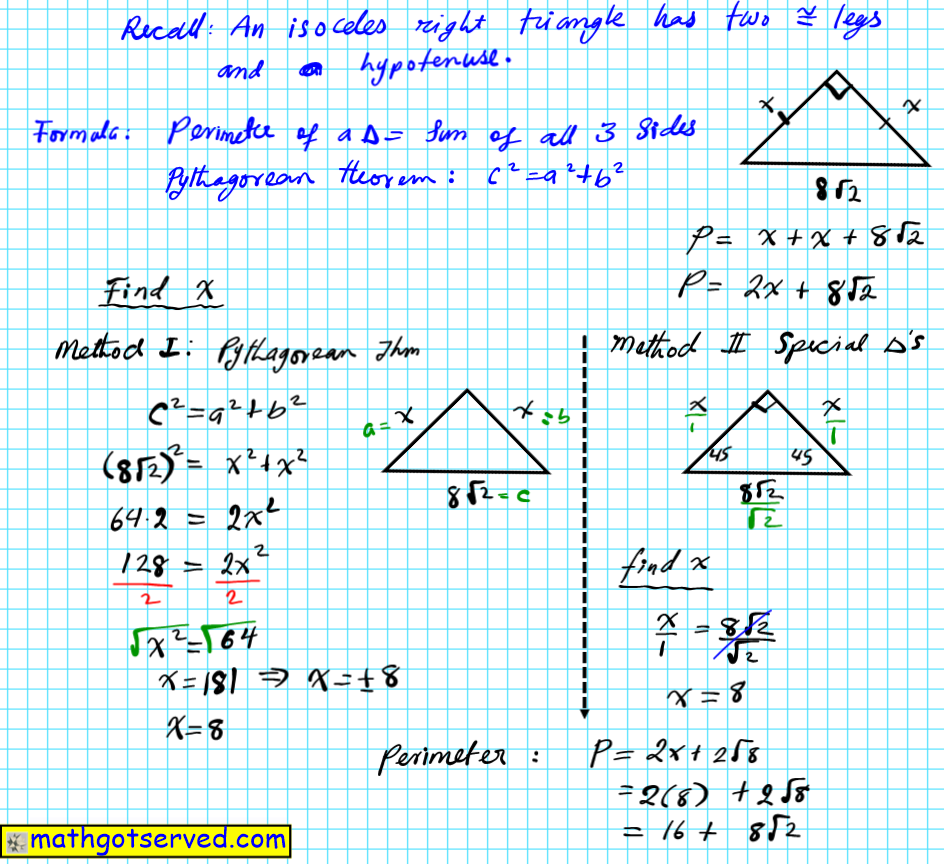using special triangles 45-45-90 triangles to find legs of a right triangle given the hypotenuse