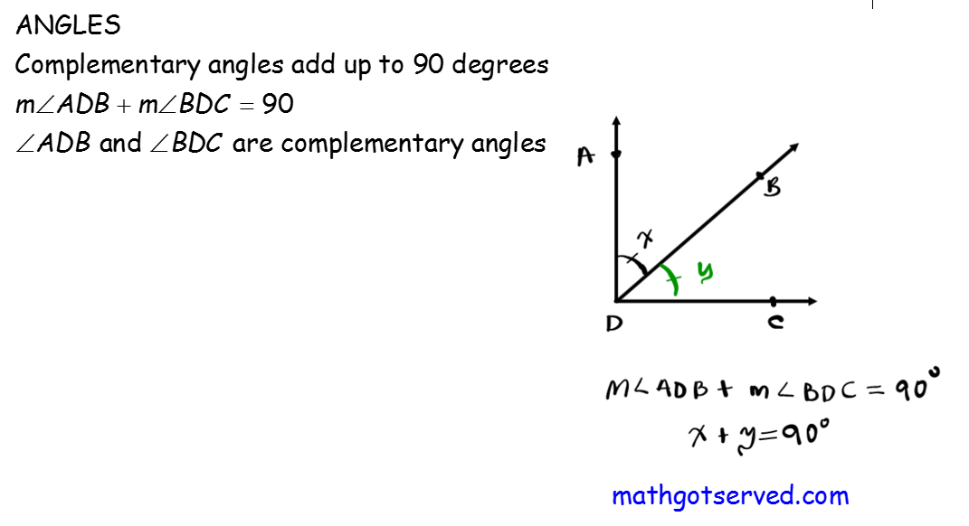 Must Know ACT Formula Complementary angles have a sum of 90 degrees right angle geometry