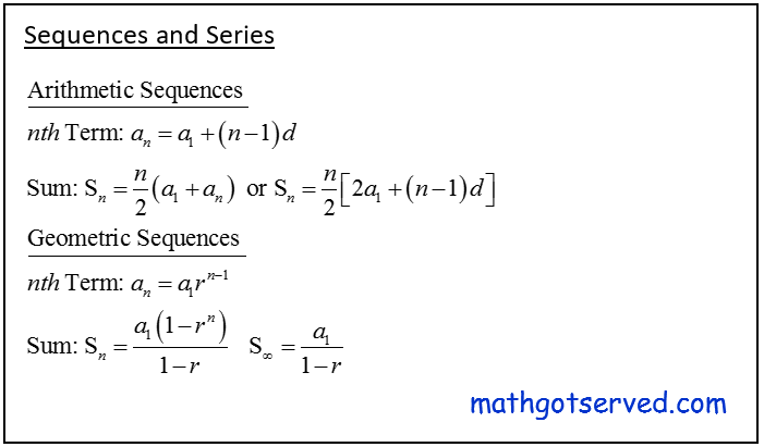 Formulas arithmetic and geometric sequences series nth term sum finite infinite common difference ratio infinity convergence divergence test solve