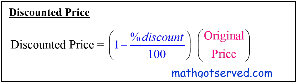 Cbest formula how to calculate the discount price formula given price and percent discount